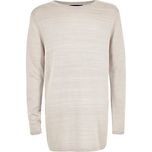 Boys light grey fine knit sweater