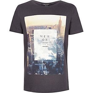 Boys black New York City print t-shirt