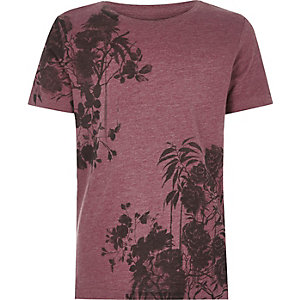 Dark red floral print t-shirt