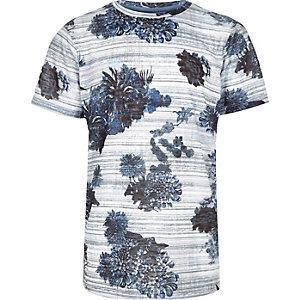 Boys blue stripe floral print t-shirt