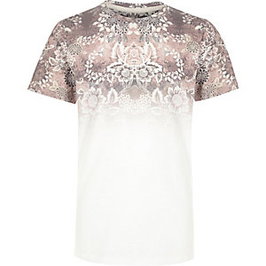 Boys pink faded floral print t-shirt