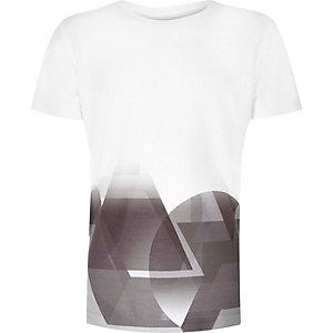 Boys white faded shape print t-shirt