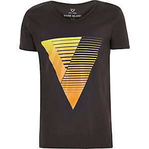 Boys black triangle print V-neck t-shirt