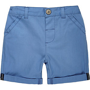 Mini boys blue twill shorts