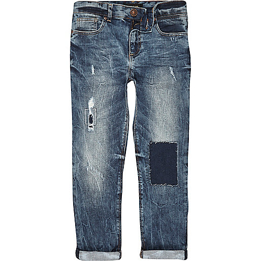 Boys blue distressed Dylan slim jeans
