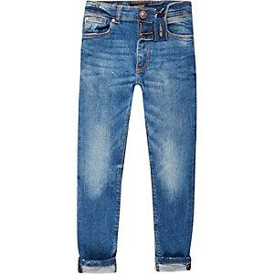 Boys mid blue wash Sid skinny jeans