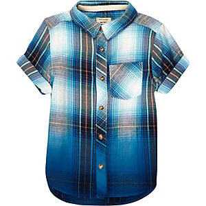 Mini boys blue checked dip dye shirt
