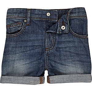 Boys mid blue wash denim shorts