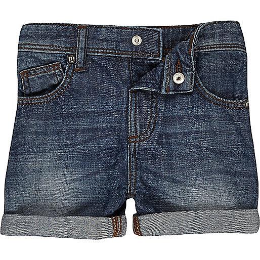 Short en jean délavage bleu moyen mini garçon