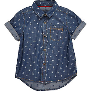 Mini boys blue palm tree print denim shirt