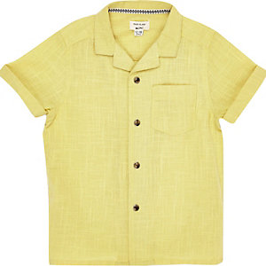 Mini boys yellow textured shirt