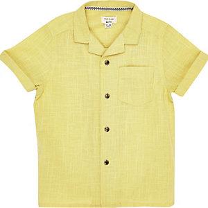 Mini boys yellow textured shirt
