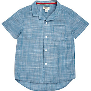 Mini boys blue revere collar shirt