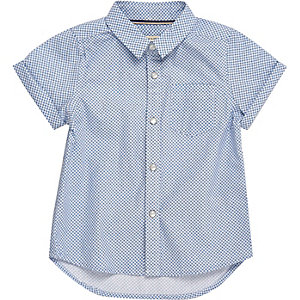 Mini boys blue geometric print shirt