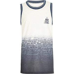 Boys blue New York print tank