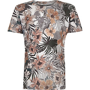 Boys grey leaf print t-shirt