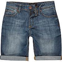 Boys medium wash denim skinny shorts