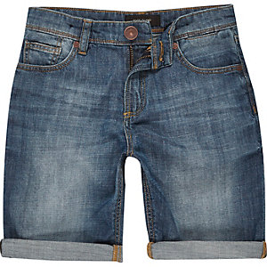 Boys medium wash denim skinny shorts