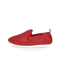 Boys red mesh pumps