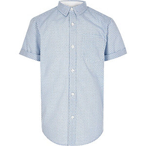 Boys blue geometric print shirt