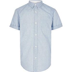 Boys blue geometric print shirt
