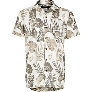 Boys ecru leaf print short sleeve shirt