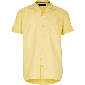 Boys yellow leaf print short sleeve shirt