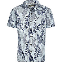 Boys blue leaf print short sleeve shirt