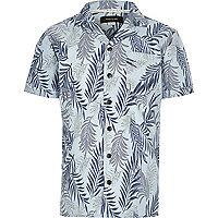 Boys blue leaf print short sleeve shirt