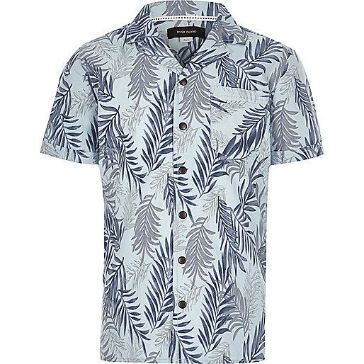 Blaues, kurzärmliges Hemd mit Blattprint