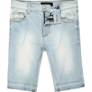 Boys light blue wash skinny denim shorts