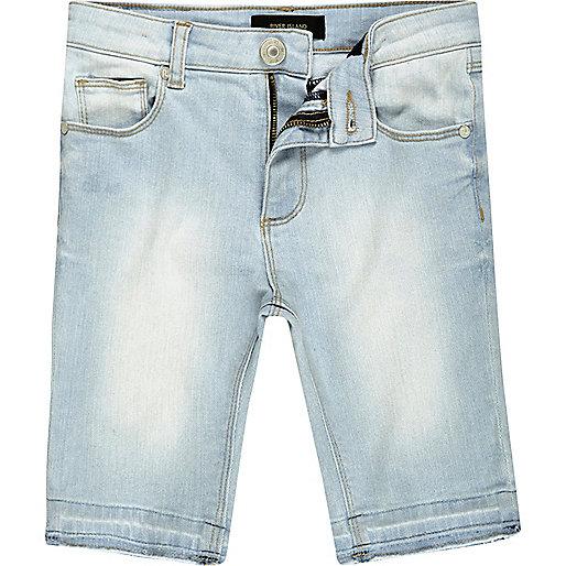 Boys light blue wash skinny denim shorts