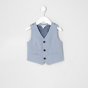 Mini boys light blue waistcoat