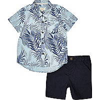 Mini boys blue shirt and shorts outfit