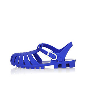 Mini boys blue flat jelly sandals
