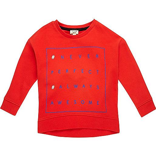 Mini boys red print sweater