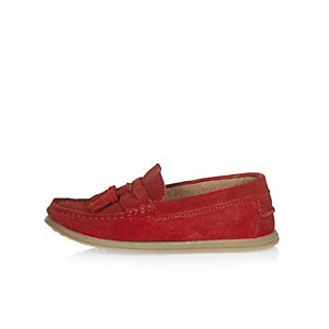 Boys red suede tassel loafers