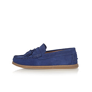 Boys blue suede tassel loafers