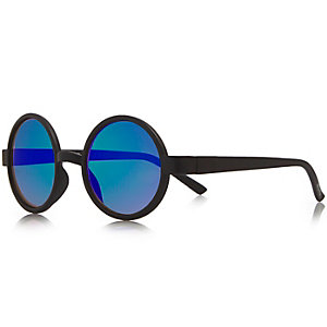 Mini boys black round sunglasses