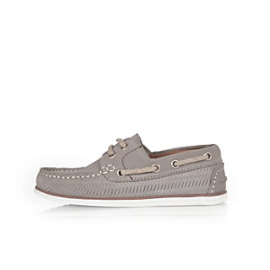 Boys grey weave boat shoes