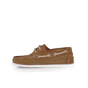 Boys light brown weave boat shoes