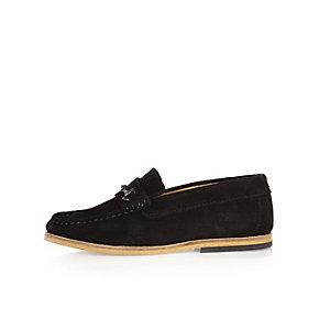 Boys black suede snaffle loafer