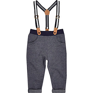 Mini boys navy herringbone-knit joggers