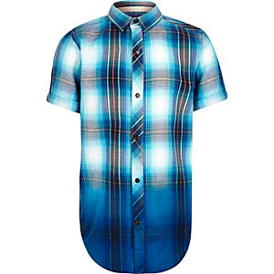 Boys blue checked dip dye shirt