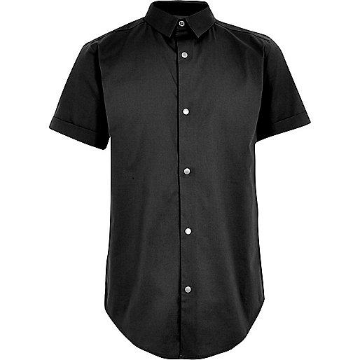 Boys dark grey snappy shirt
