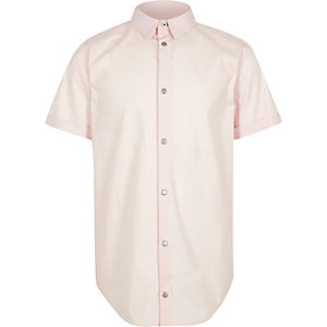 Boys light pink snappy shirt