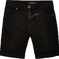 Boys black denim skinny shorts