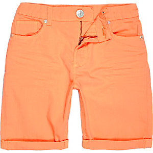Boys orange denim skinny shorts