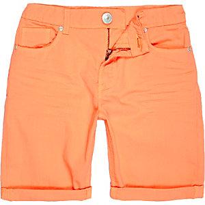Boys orange denim skinny shorts