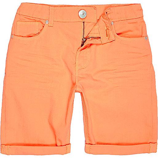 Short skinny en jean orange pour garçon
